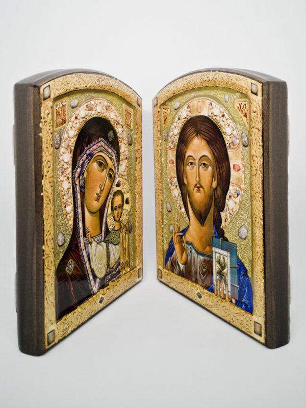 Пара венчальная Казанская Богородица с декоративной росписью боковины