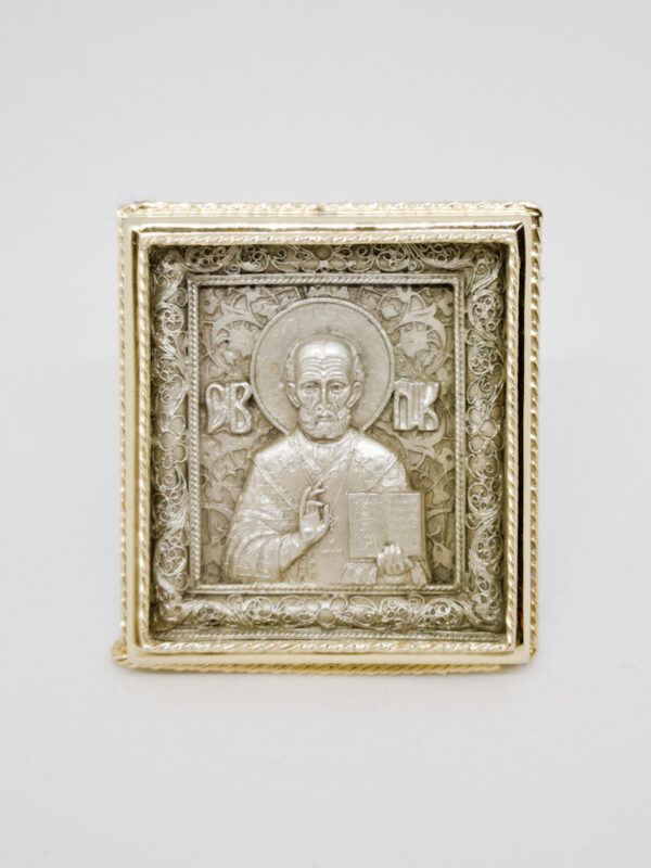Икона Николая Чудотворца серебро и позолота