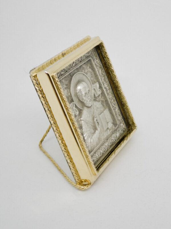 Икона Николая Чудотворца серебро и позолота боковина