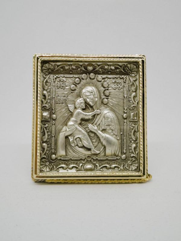 Владимирская икона Богородицы серебро и позолота
