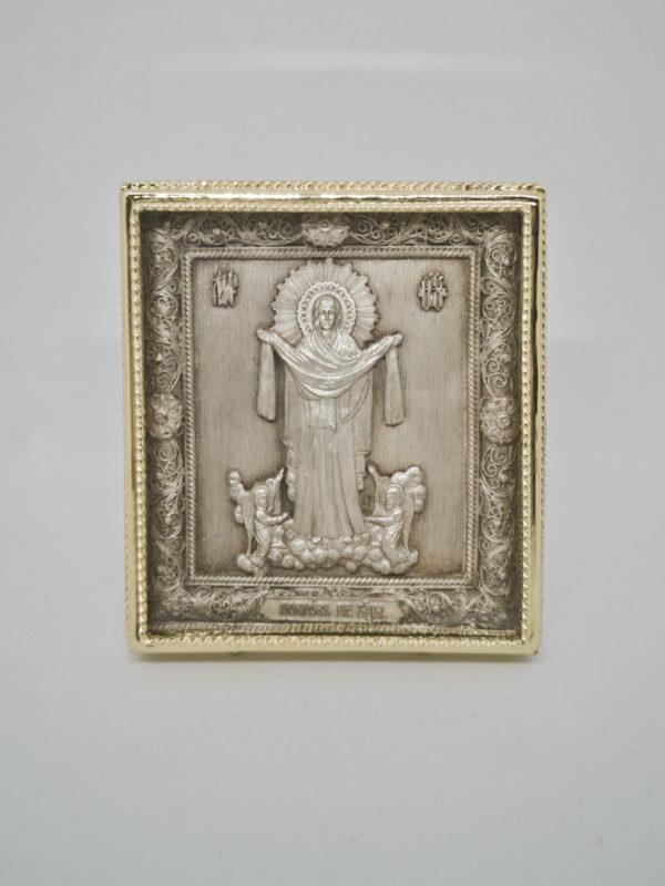 Медная икона Покров Богородицы золочение