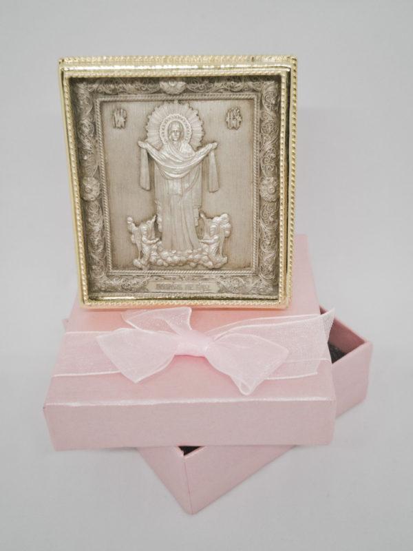 Медная икона Покров Богородицы золочение с футляром