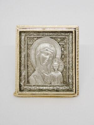 Икона Казанской Божьей Матери серебрение и позолота
