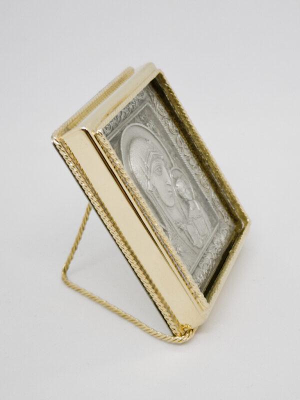 Икона Казанской Божьей Матери серебрение и позолота боковина