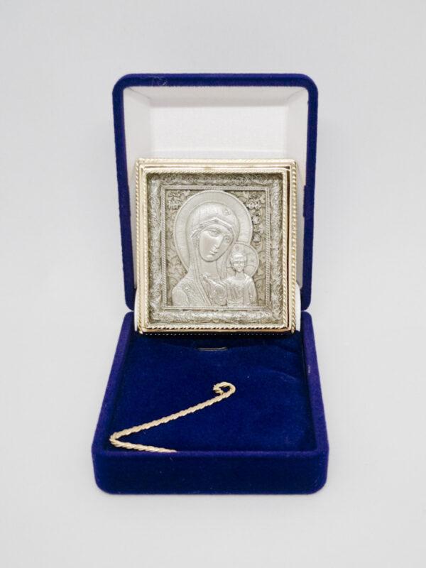 Икона Казанской Божьей Матери серебрение и позолота с футляром