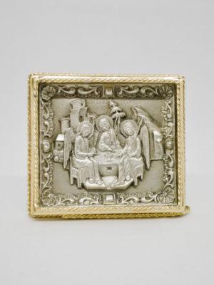 Икона Святая Троица серебро и позолота
