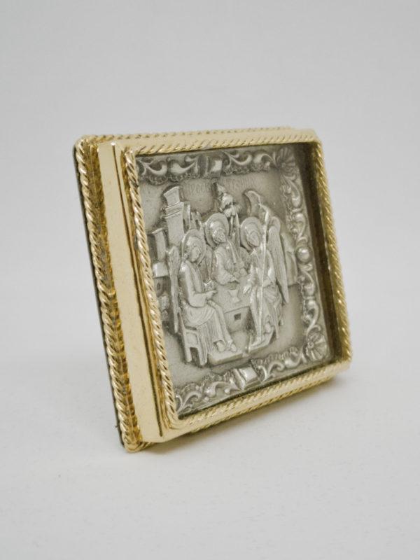 Икона Святая Троица серебро и позолота боковина
