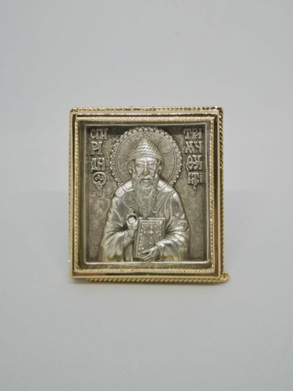 Икона Спиридон Тримифунтский серебро и позолота