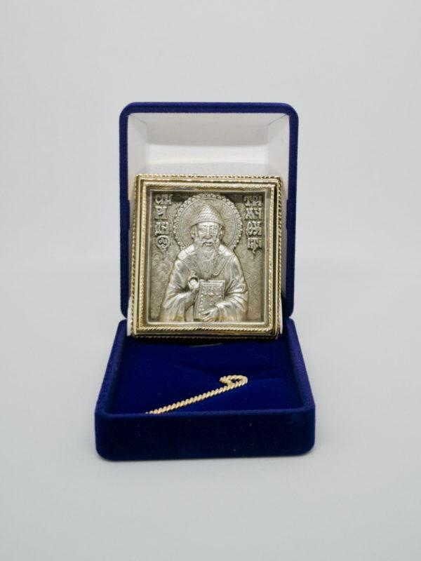 Икона Спиридон Тримифунтский серебро и позолота в футляре