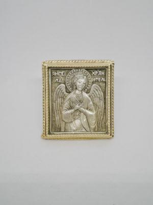 Икона Ангел Хранитель серебро позолота поясной