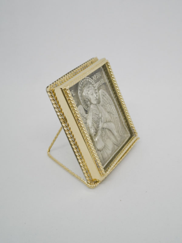 Икона Ангел Хранитель серебро позолота поясной боковина