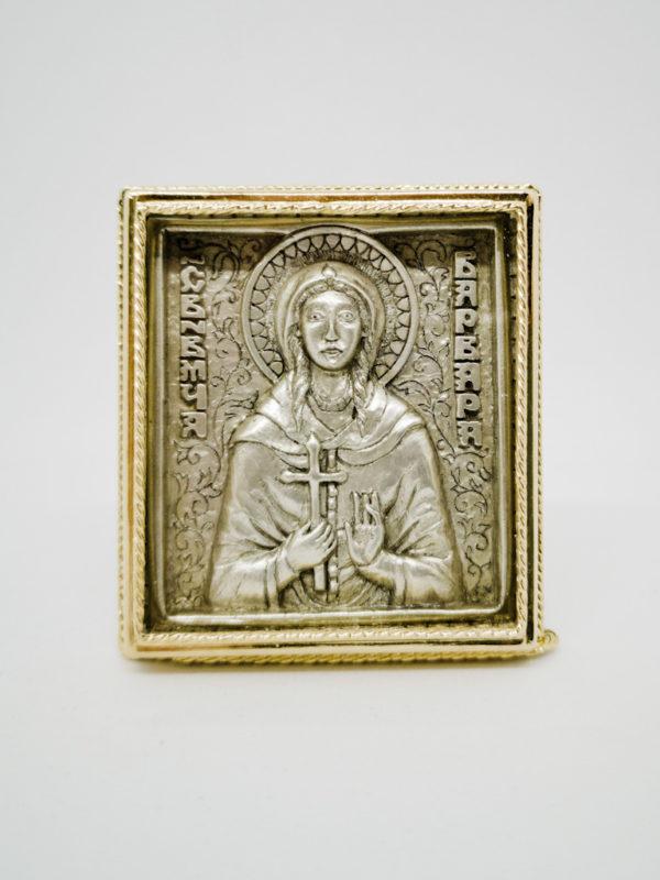 Икона Святой Варвары серебрение, позолота