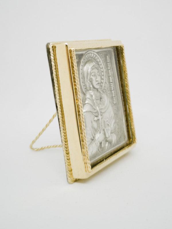 Икона Святой Варвары серебрение, позолота боковина