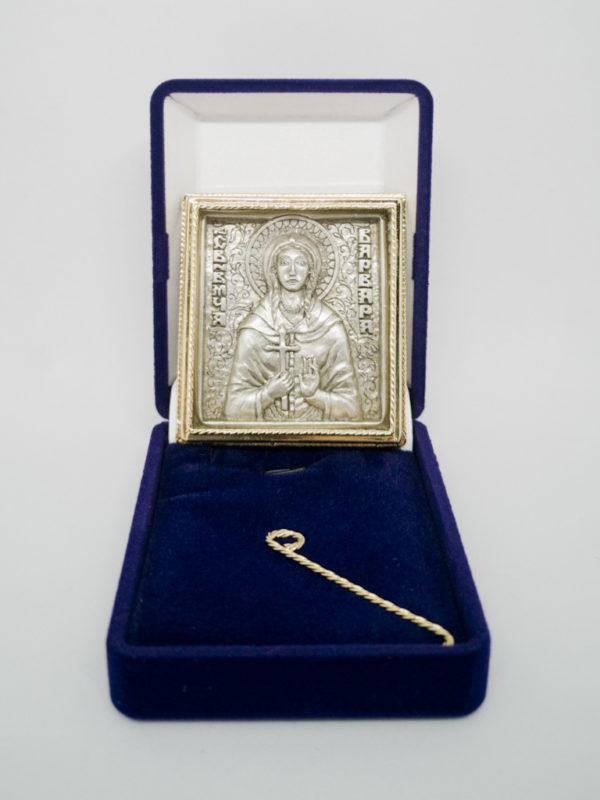Икона Святой Варвары серебрение, позолота з футляром