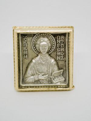Икона Святой Пантелеимон Целитель серебрение и позолота