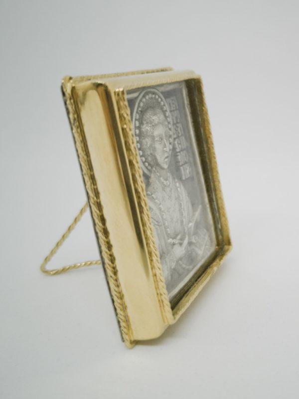 Икона Святой Пантелеимон Целитель серебрение и позолота боковина
