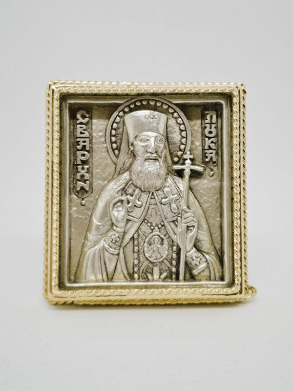Икона Лука Крымский с серебрением и позолотой