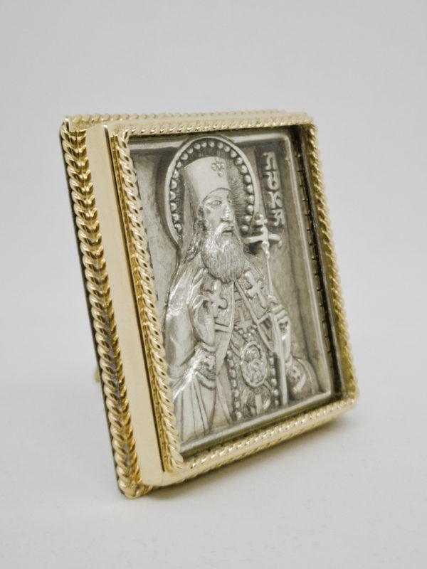 Икона Лука Крымский с серебрением и позолотой боковина