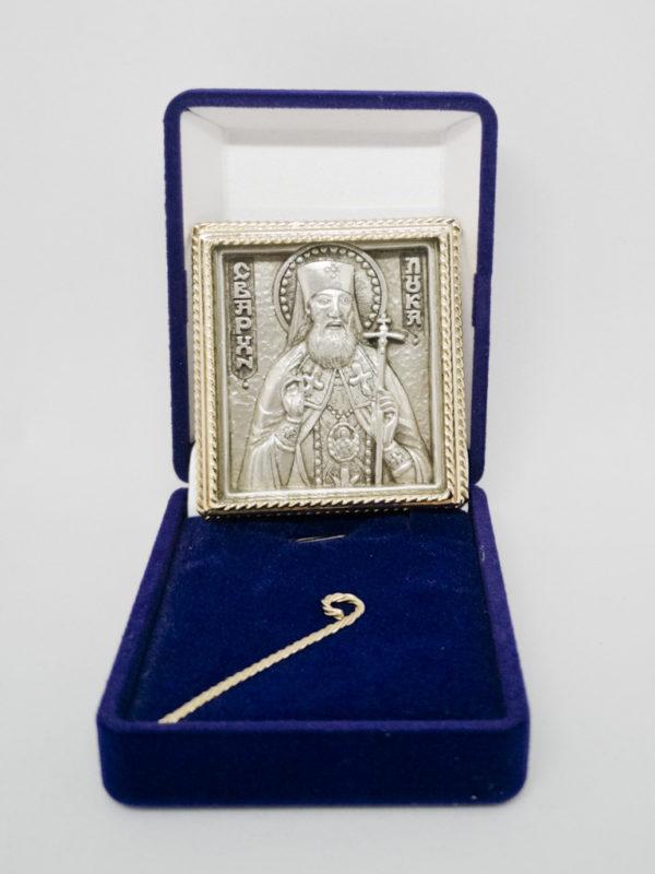 Икона Лука Крымский с серебрением и позолотой с футляром