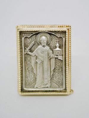Икона Николая Чудотворца с мечом серебрение золочение