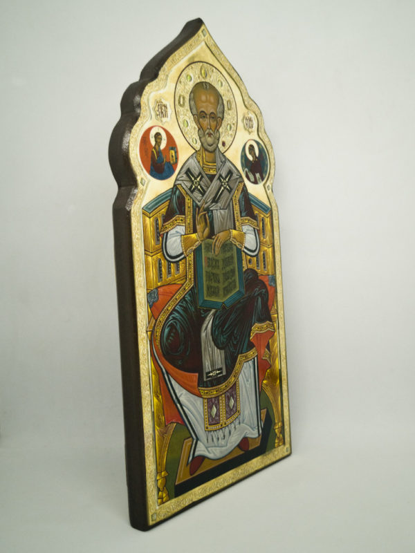 Икона святого Николая Чудотворца фигурная, боковина