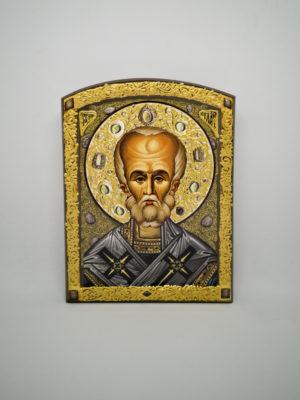 Икона Святого Николая Чудотворца декорированная