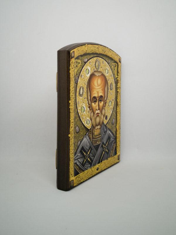 Икона Святого Николая Чудотворца декорированная икона боковина