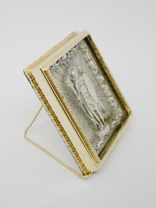 Икона Архистратига Михаила серебрение и позолота боковина