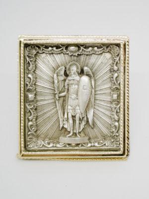 Икона Архистратига Михаила серебрение и позолота