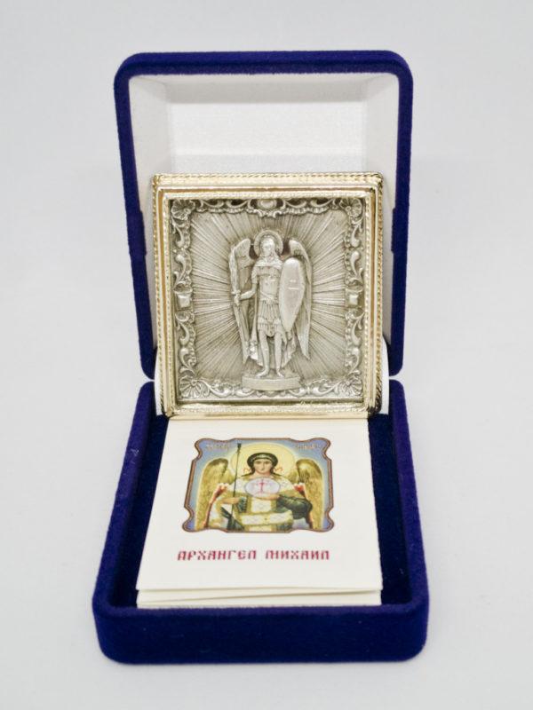 Икона Архистратига Михаила серебрение и позолота с футляром
