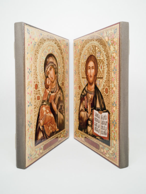 Пара венчальная с Владимирской иконой Божьей Матери декорированная боковины