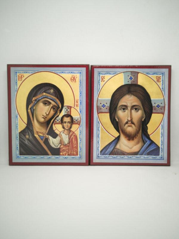 Венчальные иконы Казанская Божья Матерь голубые