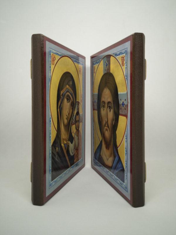 Венчальные иконы Казанская Божья Матерь голубые боковины