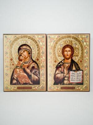 Пара венчальная с Владимирской иконой Божьей Матери декорированная