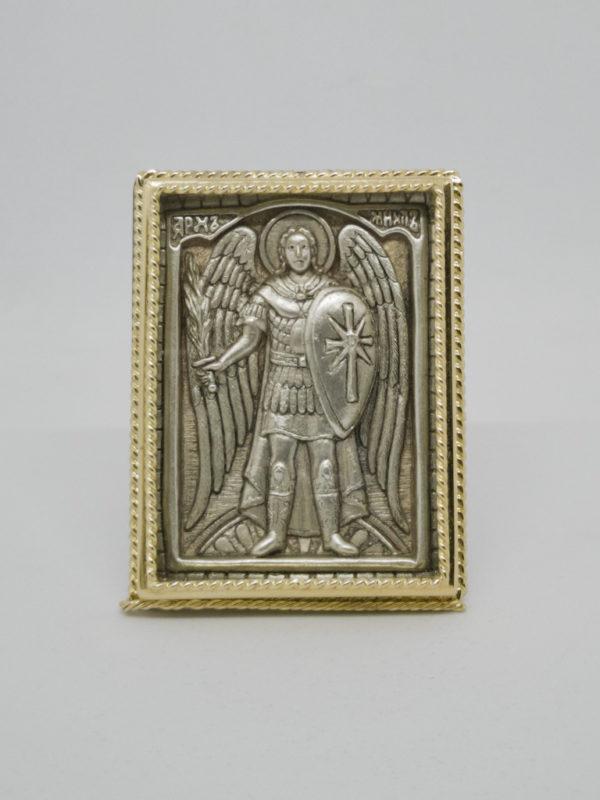 Икона Архангела Михаил старообрядческий позолота серебро