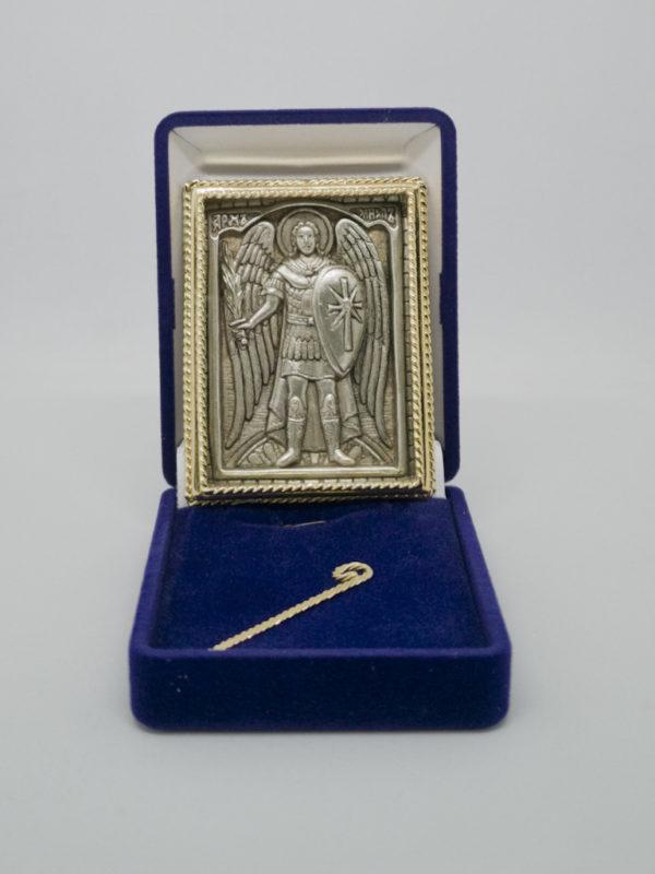 Икона Архангела Михаил старообрядческий позолота серебро в футляре