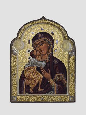 Феодоровская икона Божией Матери фигурная с декоративной росписью