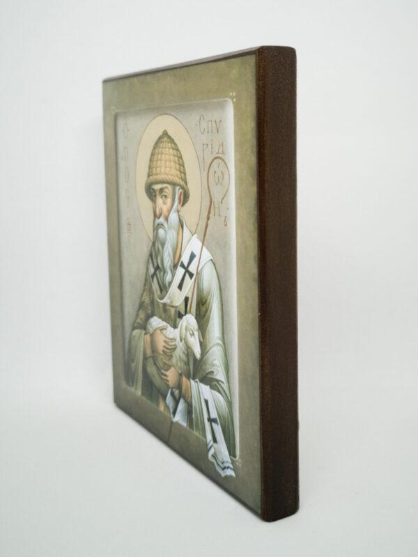 Икона Спиридон Тримифунтский с овечкой боковина