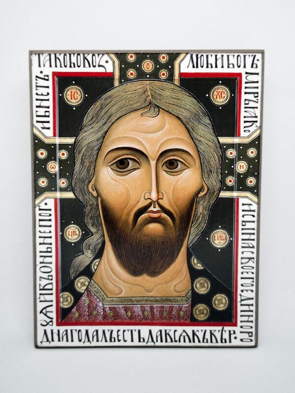 Икона Спас Златые Власы с надписями