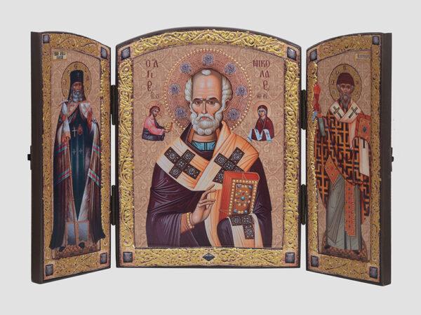 Складень: Св.Николай, Cв.Лука, Св.Спиридон