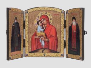 Складень: Почаевская икона Божией Матери, Cв.Иов, Св.Амфилохий