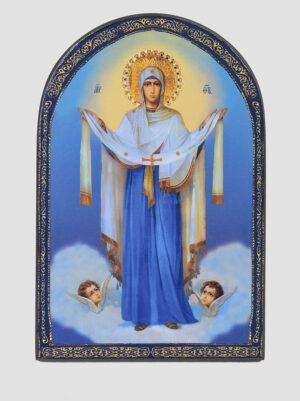 Икона Покрови Пресвятой Богородицы арочная