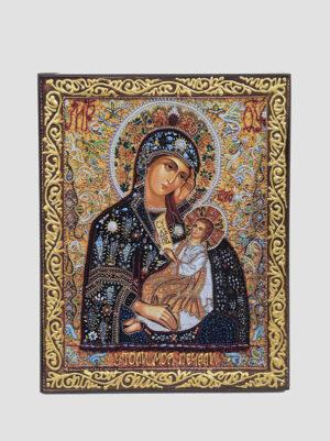 Икона Божией Матери Утоли моя печали с декоративной росписью