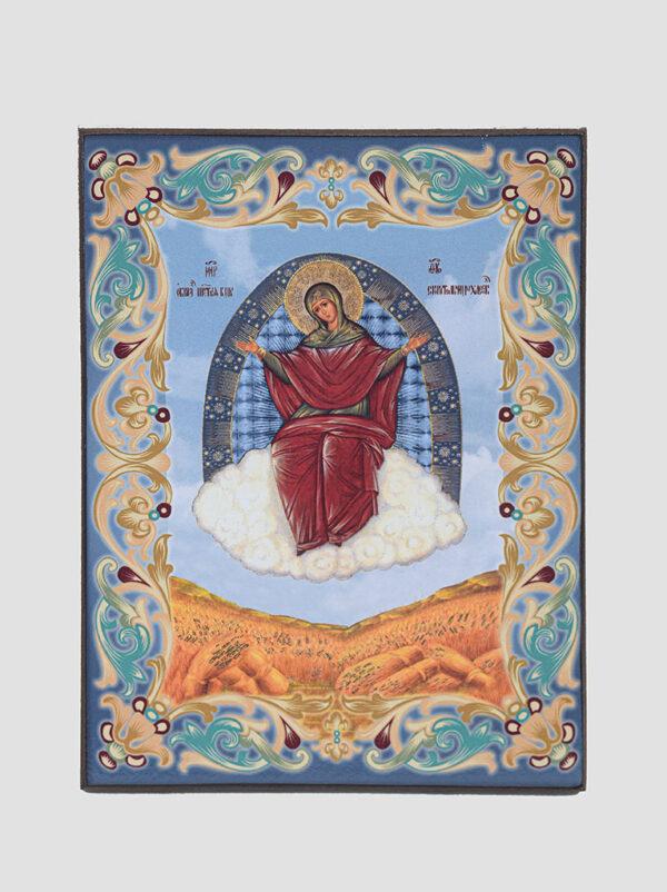 """""""Спорительница хлебов"""" икона Божией Матери (голубая)"""