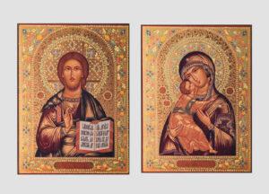 Пара венчальная с Владимирской иконой Божией Матери декорированная