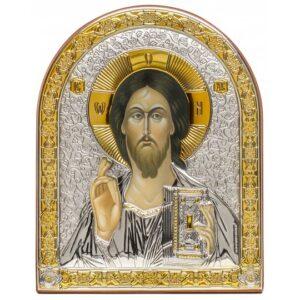Спаситель (икона серебряная арочная)