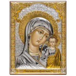 Казанская икона Божией Матери (серебряная)