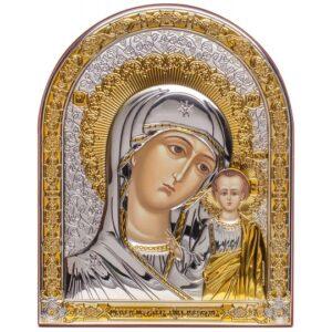 Казанская икона Божией Матери (серебряная, арочная)