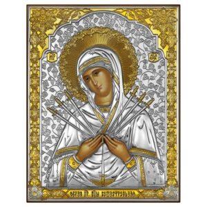 Семистрельная икона Божией Матери (серебряная)