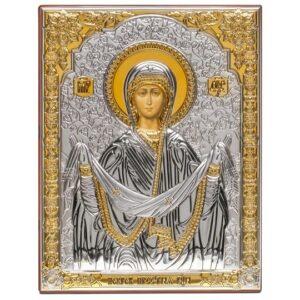Покров Пресвятой Богородицы (серебряная икона)